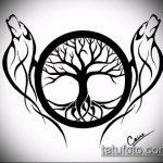 эскиз тату дерево №312 - классный вариант рисунка, который легко можно использовать для преобразования и нанесения как маленькие тату дерево