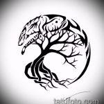 эскиз тату дерево №570 - классный вариант рисунка, который успешно можно использовать для переделки и нанесения как тату дерево на ноге