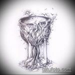 эскиз тату дерево №909 - интересный вариант рисунка, который легко можно использовать для доработки и нанесения как тату под дерево