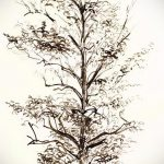 эскиз тату дерево №49 - уникальный вариант рисунка, который легко можно использовать для переработки и нанесения как тату дерево на ноге