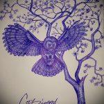 эскиз тату дерево №389 - эксклюзивный вариант рисунка, который удачно можно использовать для переделки и нанесения как тату змея на дереве