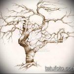эскиз тату дерево №619 - достойный вариант рисунка, который успешно можно использовать для переработки и нанесения как тату дерево на запястье