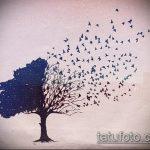 эскиз тату дерево №925 - классный вариант рисунка, который удачно можно использовать для доработки и нанесения как тату в виде дерева на шее