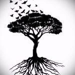 эскиз тату дерево №705 - классный вариант рисунка, который легко можно использовать для переработки и нанесения как тату дерево на плече