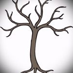 эскиз тату дерево №508 - интересный вариант рисунка, который удачно можно использовать для доработки и нанесения как тату дерево с корнями