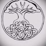 эскиз тату дерево №859 - достойный вариант рисунка, который легко можно использовать для переработки и нанесения как тату дерево на боку