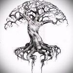 эскиз тату дерево №608 - эксклюзивный вариант рисунка, который хорошо можно использовать для переработки и нанесения как тату дерево на груди