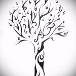 эскиз тату дерево №359 - интересный вариант рисунка, который удачно можно использовать для преобразования и нанесения как тату ветка дерева
