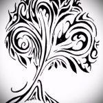 эскиз тату дерево №101 - крутой вариант рисунка, который легко можно использовать для переделки и нанесения как тату дерево чб