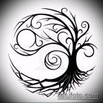 эскиз тату дерево №994 - классный вариант рисунка, который легко можно использовать для переделки и нанесения как женские тату дерево