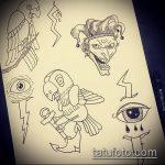эскиз тату джокер №519 - интересный вариант рисунка, который удачно можно использовать для переделки и нанесения как тату джокер в маске