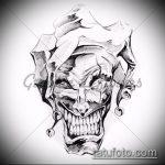 эскиз тату джокер №961 - достойный вариант рисунка, который удачно можно использовать для переделки и нанесения как тату джокер для девушек