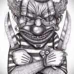 эскиз тату джокер №694 - эксклюзивный вариант рисунка, который успешно можно использовать для переработки и нанесения как тату джокер на ноге