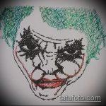 эскиз тату джокер №243 - интересный вариант рисунка, который хорошо можно использовать для преобразования и нанесения как тату маска джокера