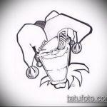 эскиз тату джокер №334 - уникальный вариант рисунка, который успешно можно использовать для переделки и нанесения как тату джокер в стиле реализм