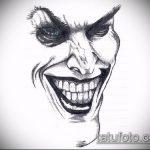 эскиз тату джокер №120 - классный вариант рисунка, который легко можно использовать для доработки и нанесения как тату маска джокера