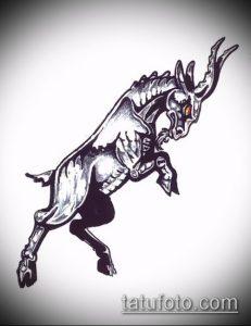 эскиз тату козел №897 - классный вариант рисунка, который хорошо можно использовать для переделки и нанесения как тату козел ест траву
