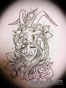 эскиз тату козел №750 - эксклюзивный вариант рисунка, который хорошо можно использовать для преобразования и нанесения как тату козел олдскул