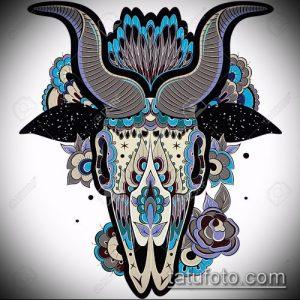 эскиз тату козел №402 - уникальный вариант рисунка, который удачно можно использовать для преобразования и нанесения как тату козел олдскул