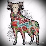 эскиз тату козел №253 - интересный вариант рисунка, который легко можно использовать для доработки и нанесения как тату козел олдскул