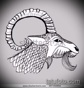 эскиз тату козел №480 - крутой вариант рисунка, который удачно можно использовать для доработки и нанесения как тату козел и ножи атомы