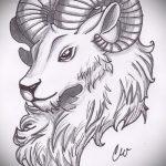 эскиз тату козел №393 - достойный вариант рисунка, который успешно можно использовать для переработки и нанесения как тату козел на запястье