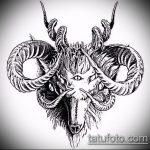 эскиз тату козел №573 - эксклюзивный вариант рисунка, который хорошо можно использовать для преобразования и нанесения как тату козел на запястье