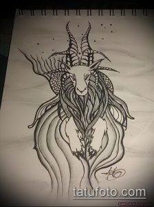 эскиз тату козел №714 - прикольный вариант рисунка, который успешно можно использовать для переработки и нанесения как тату козел ест траву