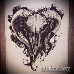 эскиз тату козел №829 - классный вариант рисунка, который легко можно использовать для переделки и нанесения как тату череп козла