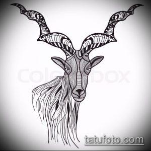 эскиз тату козел №537 - крутой вариант рисунка, который удачно можно использовать для переработки и нанесения как тату козел и ножи атомы