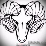 эскиз тату козел №85 - прикольный вариант рисунка, который легко можно использовать для доработки и нанесения как тату козел на запястье
