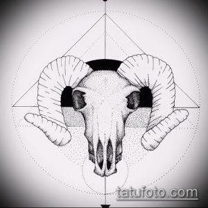эскиз тату козел №976 - прикольный вариант рисунка, который успешно можно использовать для переработки и нанесения как тату козел олдскул