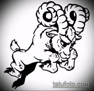 эскиз тату козел №995 - интересный вариант рисунка, который успешно можно использовать для преобразования и нанесения как тату козел и ножи атомы