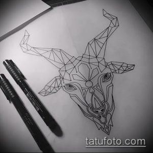 эскиз тату козел №287 - крутой вариант рисунка, который успешно можно использовать для переработки и нанесения как тату козел и ножи атомы