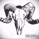эскиз тату козел №33 - уникальный вариант рисунка, который удачно можно использовать для переделки и нанесения как тату козел олдскул