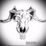 эскиз тату козел №617 - достойный вариант рисунка, который легко можно использовать для доработки и нанесения как тату козел и ножи атомы