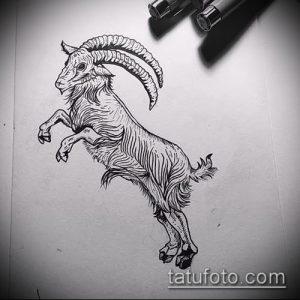 эскиз тату козел №941 - крутой вариант рисунка, который легко можно использовать для переработки и нанесения как тату козел на запястье