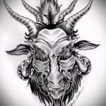 эскиз тату козел №891 - прикольный вариант рисунка, который хорошо можно использовать для преобразования и нанесения как тату козел на запястье