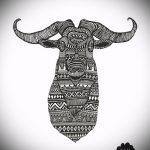 эскиз тату козел №307 - уникальный вариант рисунка, который удачно можно использовать для доработки и нанесения как тату козел ест траву