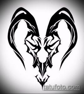 эскиз тату козел №578 - интересный вариант рисунка, который успешно можно использовать для переделки и нанесения как тату козел и ножи атомы