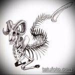 эскиз тату козел №36 - крутой вариант рисунка, который удачно можно использовать для переработки и нанесения как тату козел и ножи атомы
