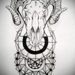 эскиз тату козел №631 - прикольный вариант рисунка, который легко можно использовать для преобразования и нанесения как тату череп козла