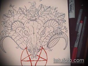 эскиз тату козел №972 - интересный вариант рисунка, который хорошо можно использовать для переработки и нанесения как тату козел олдскул
