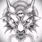 эскиз тату козел №641 - достойный вариант рисунка, который успешно можно использовать для переделки и нанесения как тату череп козла