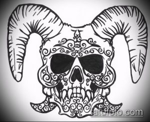 эскиз тату козел №573 - эксклюзивный вариант рисунка, который успешно можно использовать для переделки и нанесения как тату козел на запястье