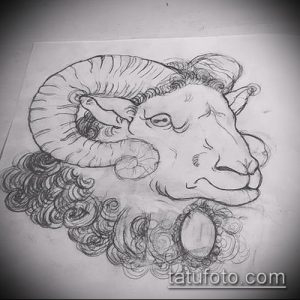эскиз тату козел №769 - эксклюзивный вариант рисунка, который легко можно использовать для переделки и нанесения как тату козел на запястье