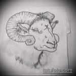эскиз тату козел №106 - достойный вариант рисунка, который успешно можно использовать для доработки и нанесения как тату козел на запястье