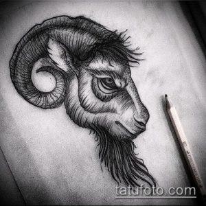 эскиз тату козел №330 - уникальный вариант рисунка, который удачно можно использовать для переработки и нанесения как тату козел и ножи атомы