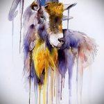 эскиз тату козел №373 - уникальный вариант рисунка, который хорошо можно использовать для преобразования и нанесения как тату козел ест траву