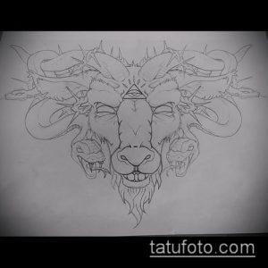 эскиз тату козел №843 - уникальный вариант рисунка, который легко можно использовать для доработки и нанесения как тату козел ест траву